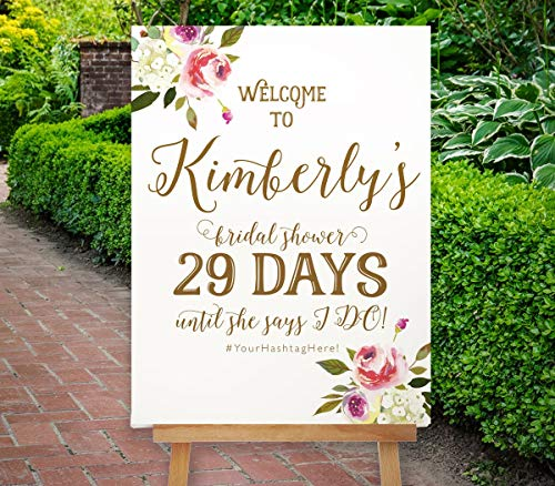 Gold Printable Bridal Shower Countdown Sign Welcome Sign Digital Pdf Gold Floral Ivory Magenta The Gualala Collection 12