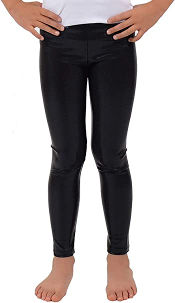 Girls Kids Black Wet Look Leggings Leather Shiny Age 5 6 7 8 9 10 11 12 13
