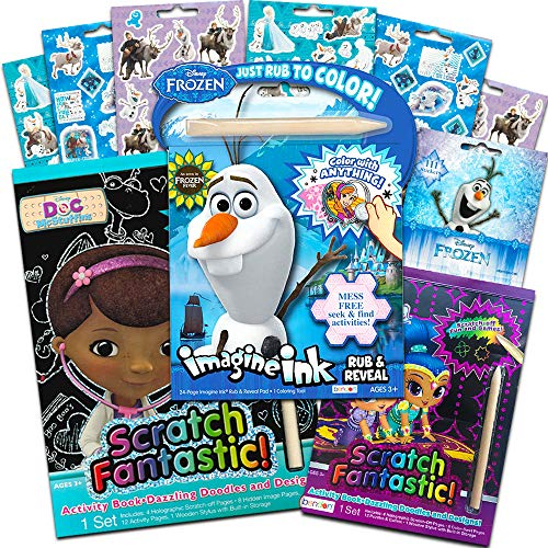 Disney Scratch Art for Girls Kids Toddlers -- 3 Scratch Books for Kids Featuring Frozen, Shimmer and Shine and Doc McStuffins with Frozen Stickers (Reveal Books for Kids)