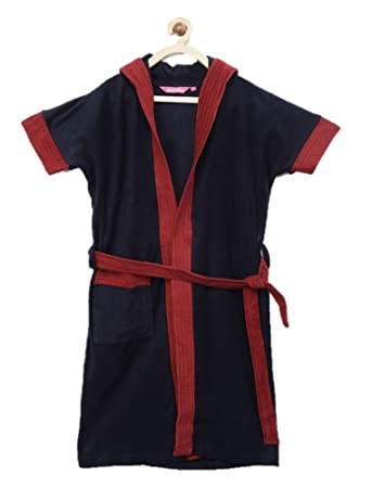 Sand Dune - Navy Blue Color with Red Border Kids Hood Bathrobe for Girls - 100% Terry Cotton Bathrobe Gown - Half Sleeves, Knee Length, Pocket with Waist Belt - Children Hodded Bath Robe for Age Group Between 8 to 9 Years