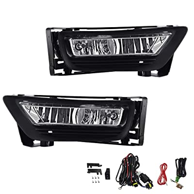 Driving Fog Lights Lamps Replacement for Honda Accord 2013 2014 2015 4-door Sedan with H11 12V 55W Halogen Bulbs HO2593132 HO2592132 (Clear Lens): Automotive