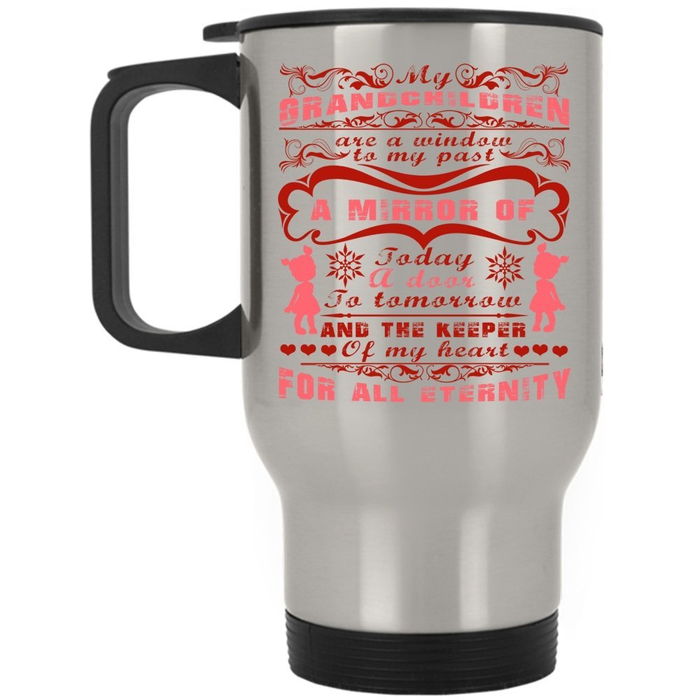 The Keeper Of My Heart For All Eternity Travel Mug, My Grandchildren Are A Window To My Past Mug (Travel Mug - Silver)