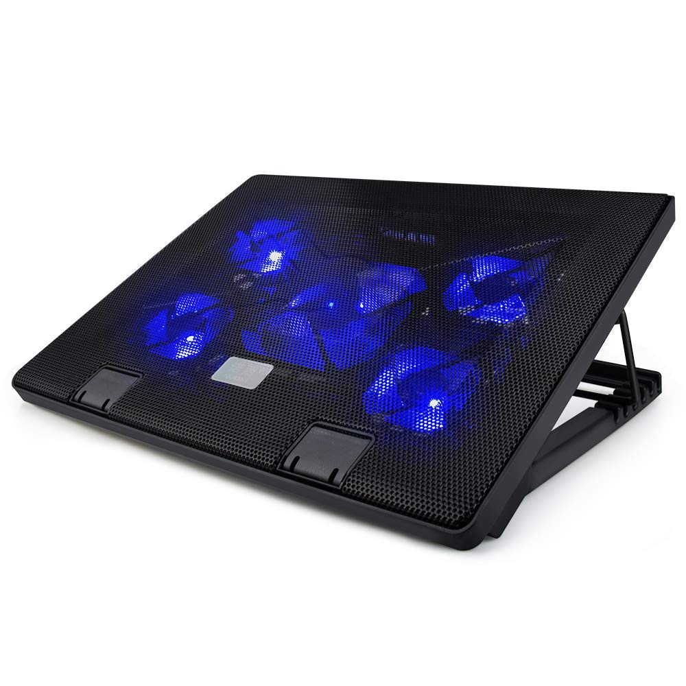 LINGSFIRE Laptop Cooling Fan, 12-19inch Portable Laptop Cooler Cooling Pad Chill Mat for Gaming Laptop, 5 Quiet Fans Adjustable Stands and 2 USB Ports (Black)