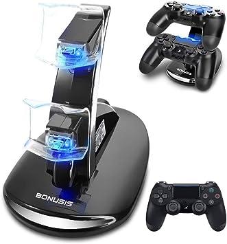 Cargador Mando PS4 Cargador de Mandos PS4 Soporte Estación Base de Carga Dual por USB con
