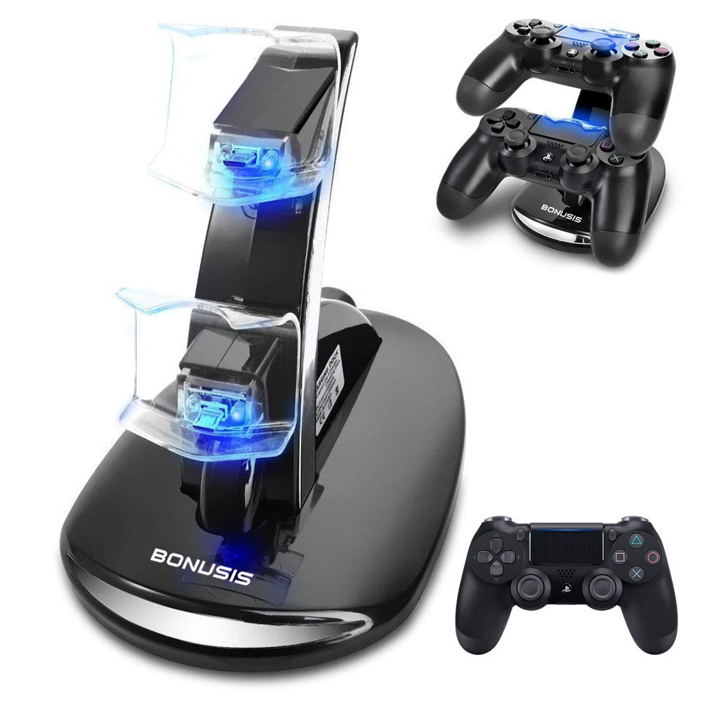 BONUSIS PS4 Controller Fast Charge Station -Dual USB Simultaneous Charger Dual Charging Dock Cradle Stand Accessory for Sony Playstation 4 Gaming ...