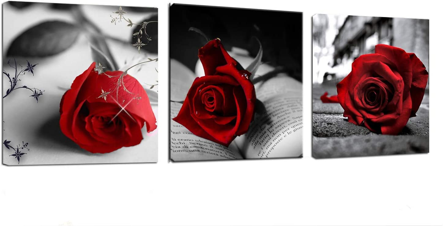 """3 Panels Canvas Wall Art- Red Rose Flowers Art Gray Book Painting Pictures - 48"""" x 16"""" Modern Canvas Prints Poster Framed for Home Office Decor"""