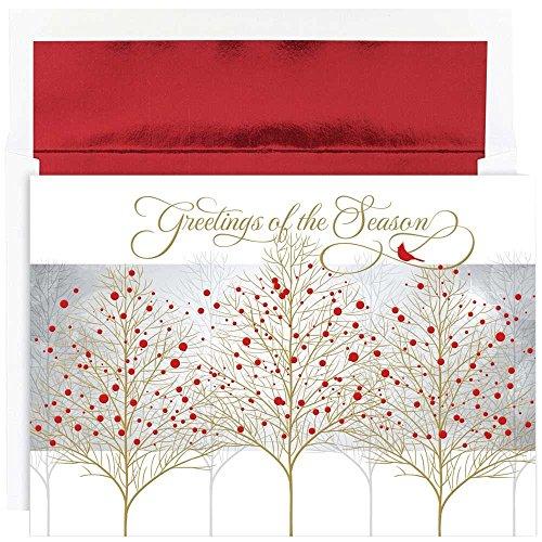 JAM Paper Christmas Card Set - Cardinal Treeline Christmas Cards - 16/pack - Treeline Pack