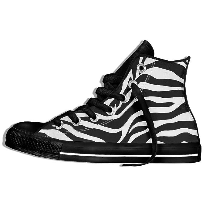 6a2a7c29e8519 Amazon.com: Zebra Black And White Classic Style High Top Flat Canvas ...