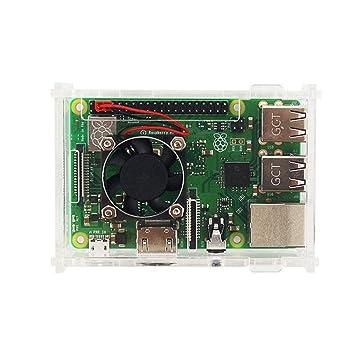 CUHAWUDBA Para Raspberry Pi 3 Model B+ Estuche Acrilico Cascara Cubierta De Caja Transparente + Ventilador De Enfriamiento + Disipador De Calor De Aluminio para Raspberry Pi 3 Model B+/B: Amazon.es: Electrónica