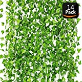 M&I Design Artificial Ivy 14 Pack 115Ft, Ivy Leaves Garland, Fake Plant Leaves, Ivy Vine for Wedding,Party, Garden, Home Decoration
