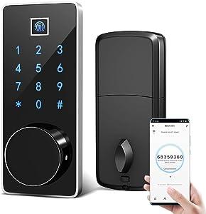 Smart Deadbolt Lock Wi-Fi Enabled Fingerprint with Electronic Passcodes Touch-screen, Digital Lock Remote Control Auto-Lock Keyless Entry Door Lock , Mifare Cards , Smartphone App Control, Backup Keys