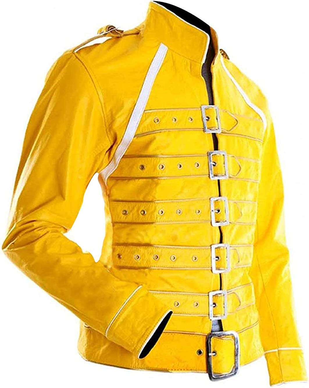 STB-Fashions Freddie Mercury Queen Concert Belted Motorcycle Yellow Jacket for Women Yellow - Faux Jacket