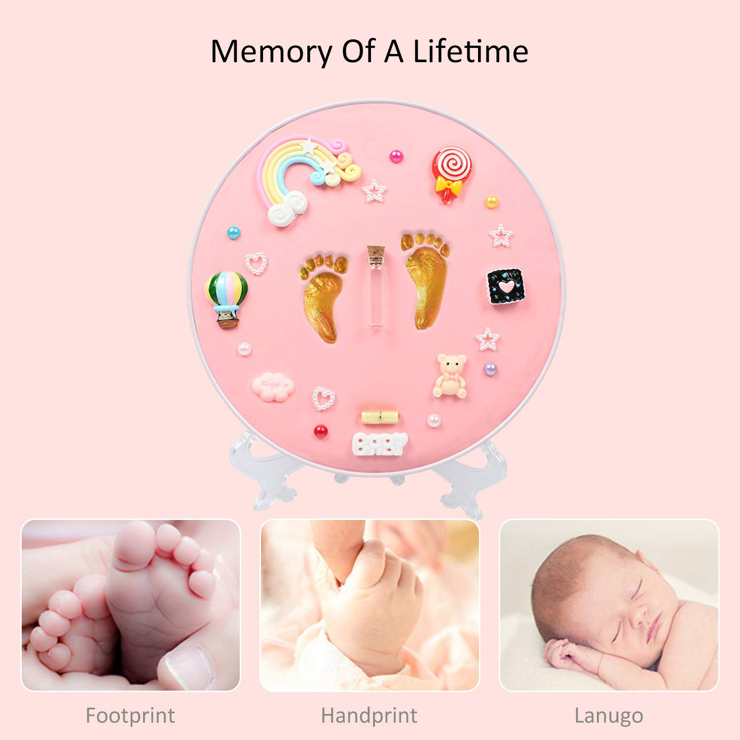 Pink Elf Star Newborn Baby Handprint and Footprint Keepsake Decoration Gifts Personalized Non-Toxic DIY Infants Clay Souvenir Ornament Kit for Boys and Girls