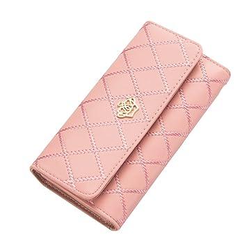 Contever® Moda Bolsos de mano Clutch Largo Carteras para Mujer Dama cuero de la PU Billetera Tarjetero (Rosado): Amazon.es: Belleza