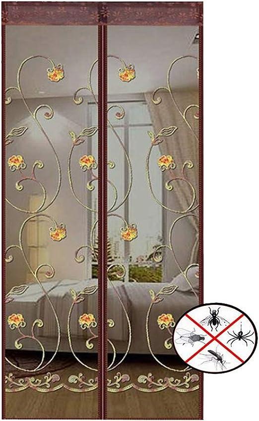 Puerta Magnetica Cortina - Cortina De Cierre Automatico Defensa Insecto y Mosquito - para Sala De Estar/ Cocina/ Dormitorio/ Balcon Puerta Corredera - Fácil De Instalar con Velcro (Bordado de cafe): Amazon.es: