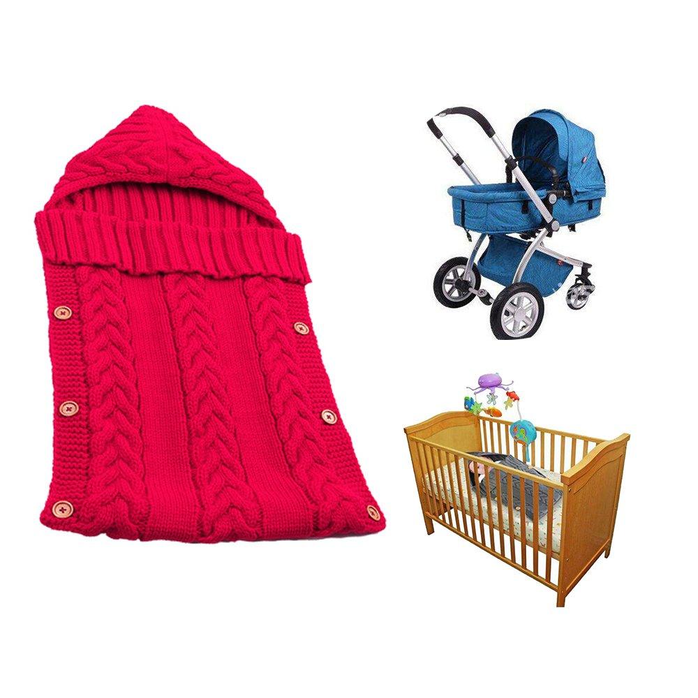 Swaddle Blanket Wrap for Baby Crochet Knitted Newborn Infant Sleep Bag Sack Swaddling Blanket for 0-12 Months Baby Shower Gift (Black&Red) baby way