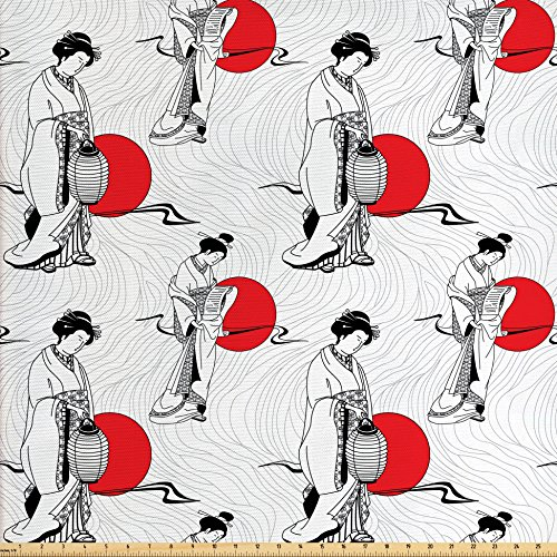 Lunarable Japan Fabric by The Yard, Cultural Pattern with Geisha Woman in Kimono Costume on Abstract Wavy Backdrop, Decorative Fabric for Upholstery and Home Accents, Orange White