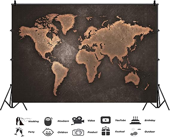 New Vintage World Map Backdrop 7x5ft Hemisphere Photos Background Adult Nautical Theme Events School Background Newborn Baby Portraits Baby Shower Party Decoration Business Room Shoots Props
