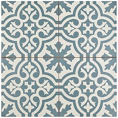 """SomerTile FPEBRKB Stroud Ceramic Floor & Wall Tile, 17.625"""" x 17.625"""", Blue,,, Blue, White"""