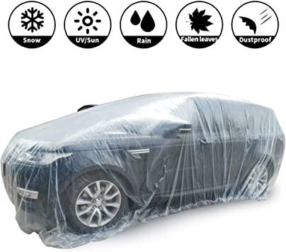 Car Disposable Plastic Cover Waterproof Transparent Dustproof Rain Cover Clear