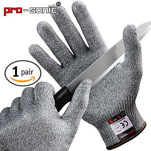 [Schnittschutzhandschuhe] Pro-sonic Hochleistung Schnittschutz Handschuhe Leicht 5 Handschutz Ebene, lebensmittelecht schnittfeste Handschuhe XL