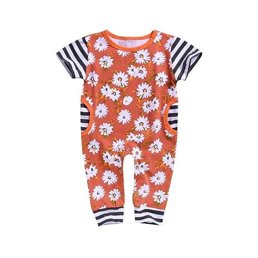 092a4203c Amazon.com: Oldeagle Newborn Infant Baby Boys Girls O-Neck Short Sleeve  Sunflower Stripe Romper Jumpsuit Baby Outfits Black: Clothing