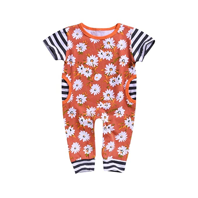 0f835745fe7c1 Amazon.com: HANANei 2PCS Girl Outfits, Toddler Baby Boys Girls (6-24M)  Short Sleeve Sunflower Stripe Romper Jumpsuit Clothes: Clothing