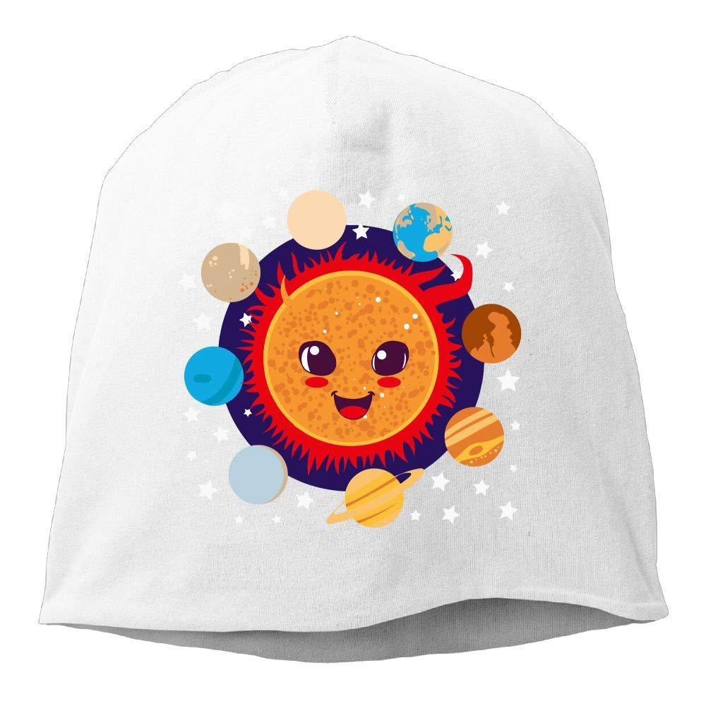 Cute Happy Sun with Planet Boyfriend Circling Him Men Women Winter Helmet Liner Fleece Skull Cap Beanie Hat for Running Black