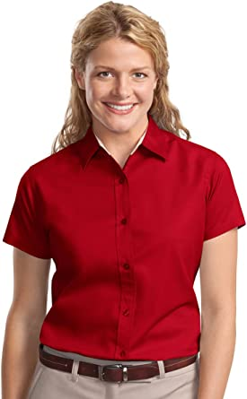 Port Authority Ladies Short Sleeve Easy Care Shirt L508 Red//Light Stone
