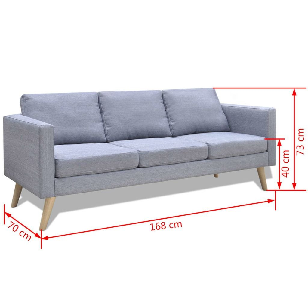 vidaXL Sofá gris claro 3 plazas de tela con marco de madera robusto ...
