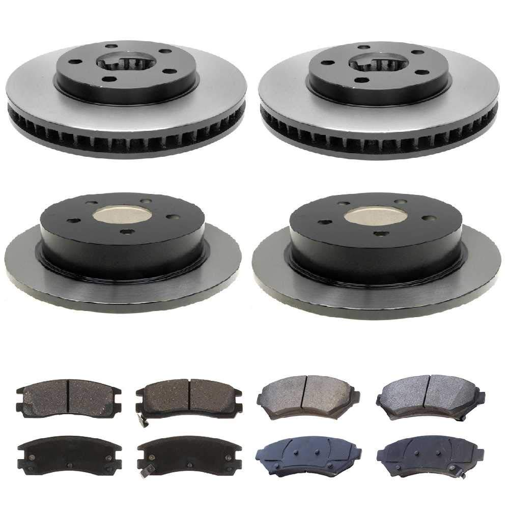 Prime Choice Auto Parts SMK69865041 Set of 4 Premium Brake Rotors and 8 Metallic Brake Pads