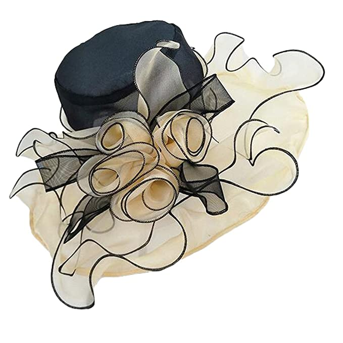 c27ea9a4864ed MatchLife Women s Kentucky Derby Sun Hat Church Cocktail Party Wedding  Dress Organza Hat With Stereo flowers