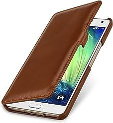 StilGut Book Type avec Clip, Housse en Cuir pour Samsung Galaxy A7 (2015). Etui de Protection à Ouverture latérale avec Fermeture clipsée, Cognac