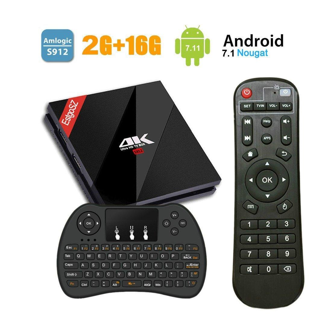 [2018 Modè le] EstgoSZ Android 7.1 Smart TV Box avec Clavier sans Fil, 2Go+16Go 4K Ultra HD Boî tier TV avec Amlogic S912 Octa-Core 64 Bits CPU 2.4 / 5GHz WiFi 1000M LAN Bluetooth 4.1 H.265 Set Top Box UKSoku 2+16G+JP