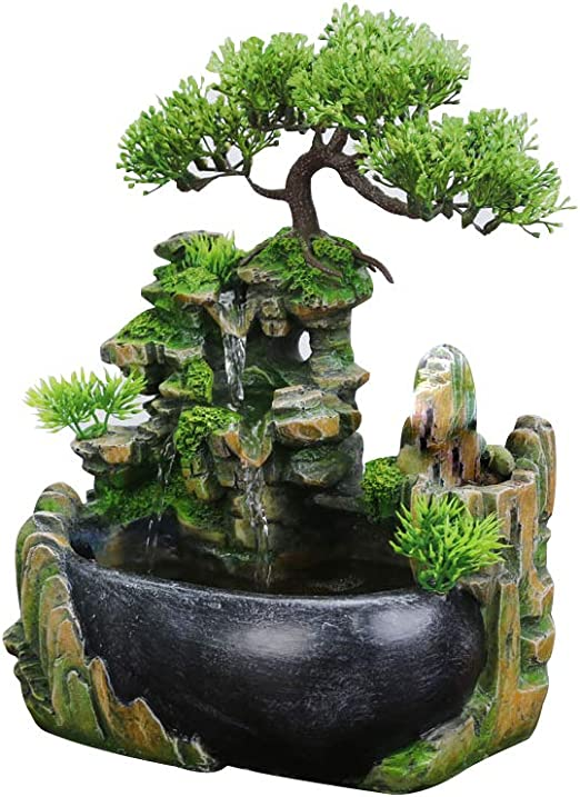 Amazon Com Surprizon Indoor Relaxation Desktop Fountain Waterfall Zen Meditation Indoor Waterfall Feature With Automatic Pump Illuminated Waterfall For Home Office Bedroom Desk Decoration Standard Home Kitchen