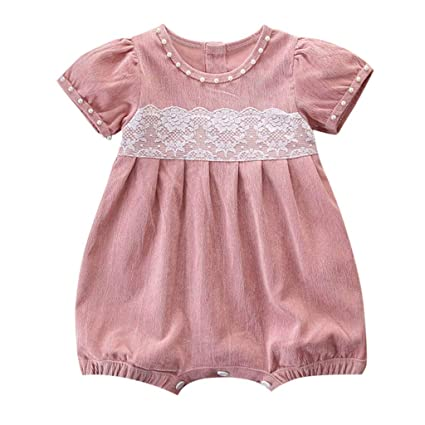 Fashion Style Cute Girl O-neck Solid Jumpsuit Letter Pattern Princess Romper Outfits Clothes New Born Baby Girl Clothes 2019 New Arrival Girls' Baby Clothing