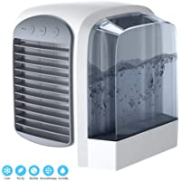 NLR Personal Air Cooler, mini air conditioner, USB Evaporative Coolers, with Water tank, Portable LED Table Fan, 3 Fan Speed, USB Charging, Ultra-Quiet Table Fan for Home Office Bedroom Kids, environmental friendly cooler fan