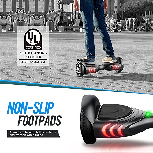 TOMOLOO Hoveroard with Bluetooth Speaker and Lights – Black Hover Board with App UL2272 Certified…