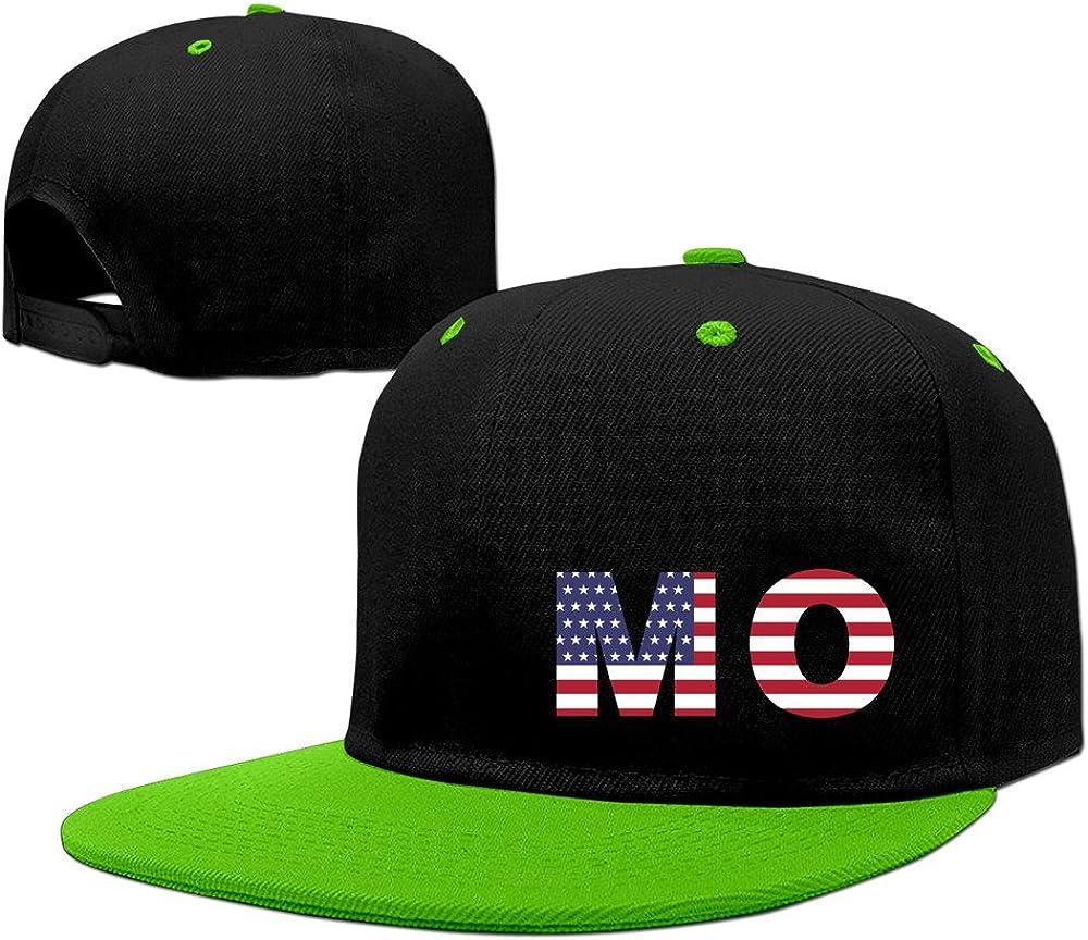 Mo State Of Missouri Flag Adjustable Snapback Cap Flat Brim Hip-Hop Caps