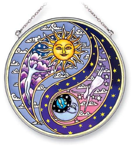 Amia Hand Painted Glass Yin Yang Suncatcher, 6-1/2-Inch Circle