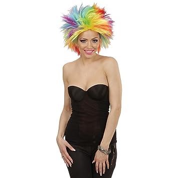 Amakando Pelo Punk Peluca arcoíris Mujer Cabellera Carnaval punkarra Accesorio Disfraz Mujer años 80 Cabello postizo