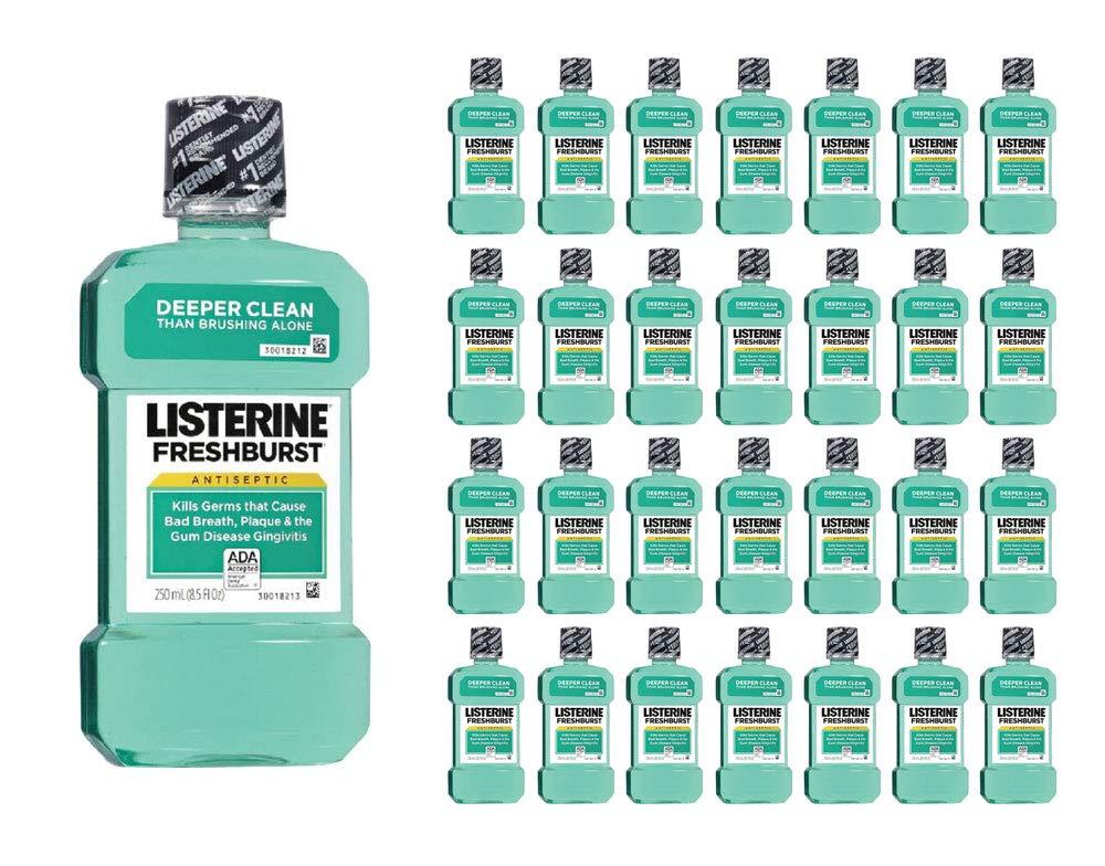 Listerine Mouthwash Fresh Burst Antiseptic Fights Germs & Plaque 250ml 8.5oz (96-Pack)