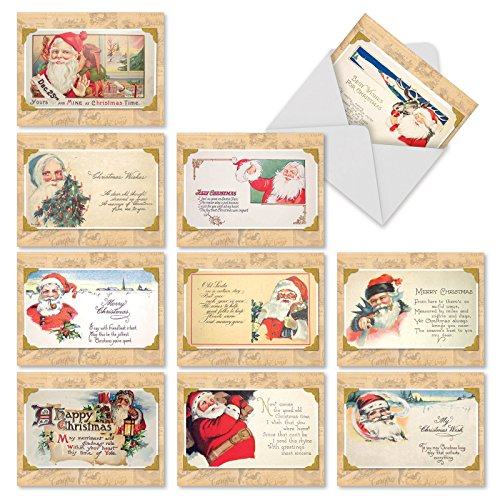 M10041XS Christmastime Rhymes: 10 Assorted Christmas Note Cards Feature Vintage Santa Postcards,w/White Envelopes.