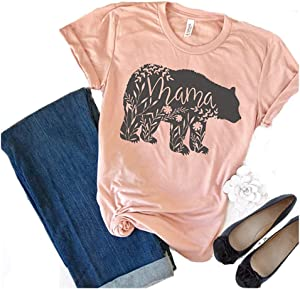 Sweepstakes: Women's Floral Mama Bear Print Crew Neck Short Sleeve T...