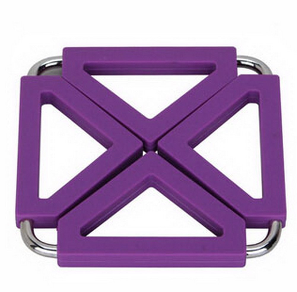 Panda Superstore Square Stainless Steel Silicon Potholders Pot Holder,Heat-proof Mat(Purple)