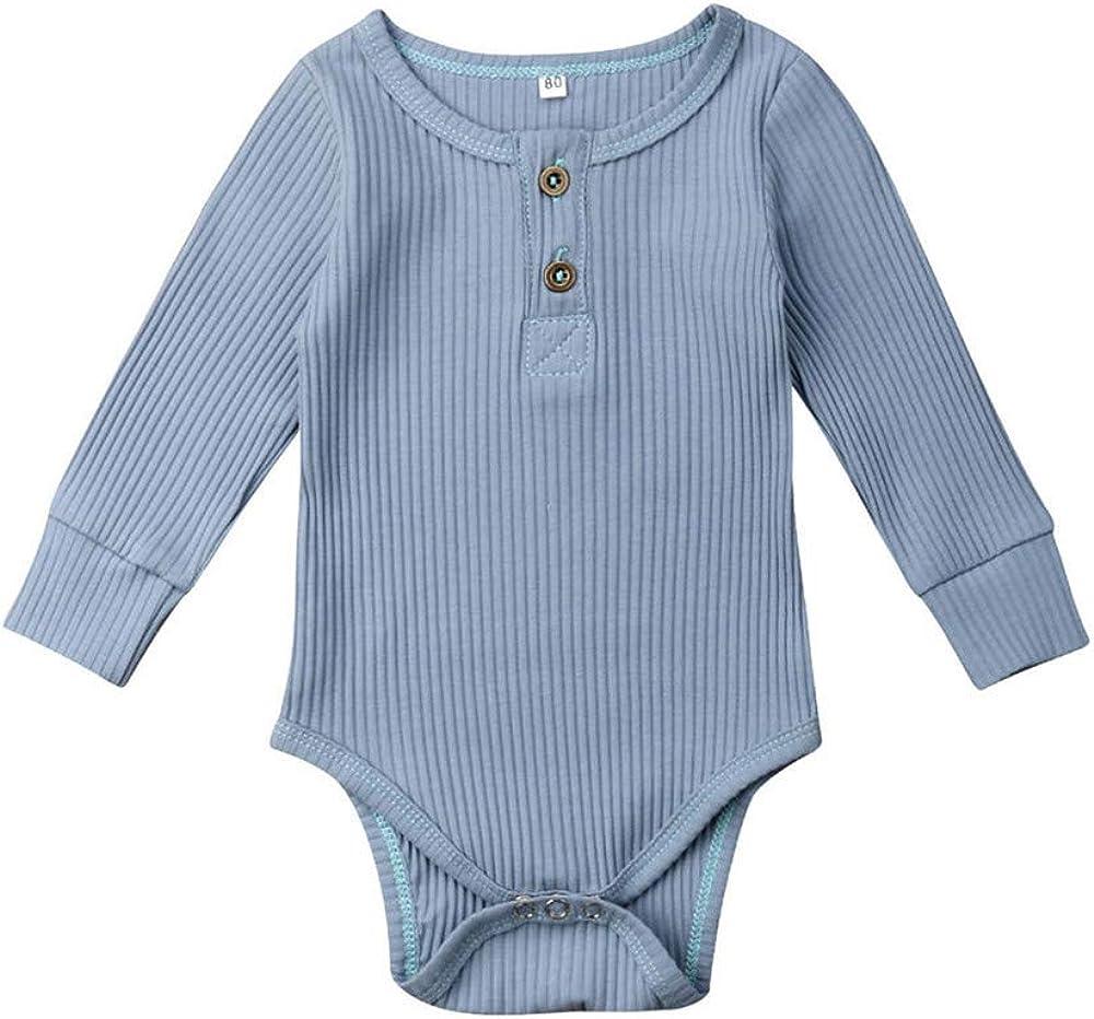 FELZ Ropa de Bebe niña niño Mameluco Mangas Largas de Verano Recién Nacido 0-24 Meses Trajes de Mono Color Liso para bebés Body con Cuello Redondo ...