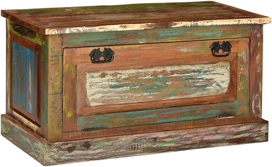 Panca scarpiera in legno effetto antico vintage massello di recupero baule contenitore cassa