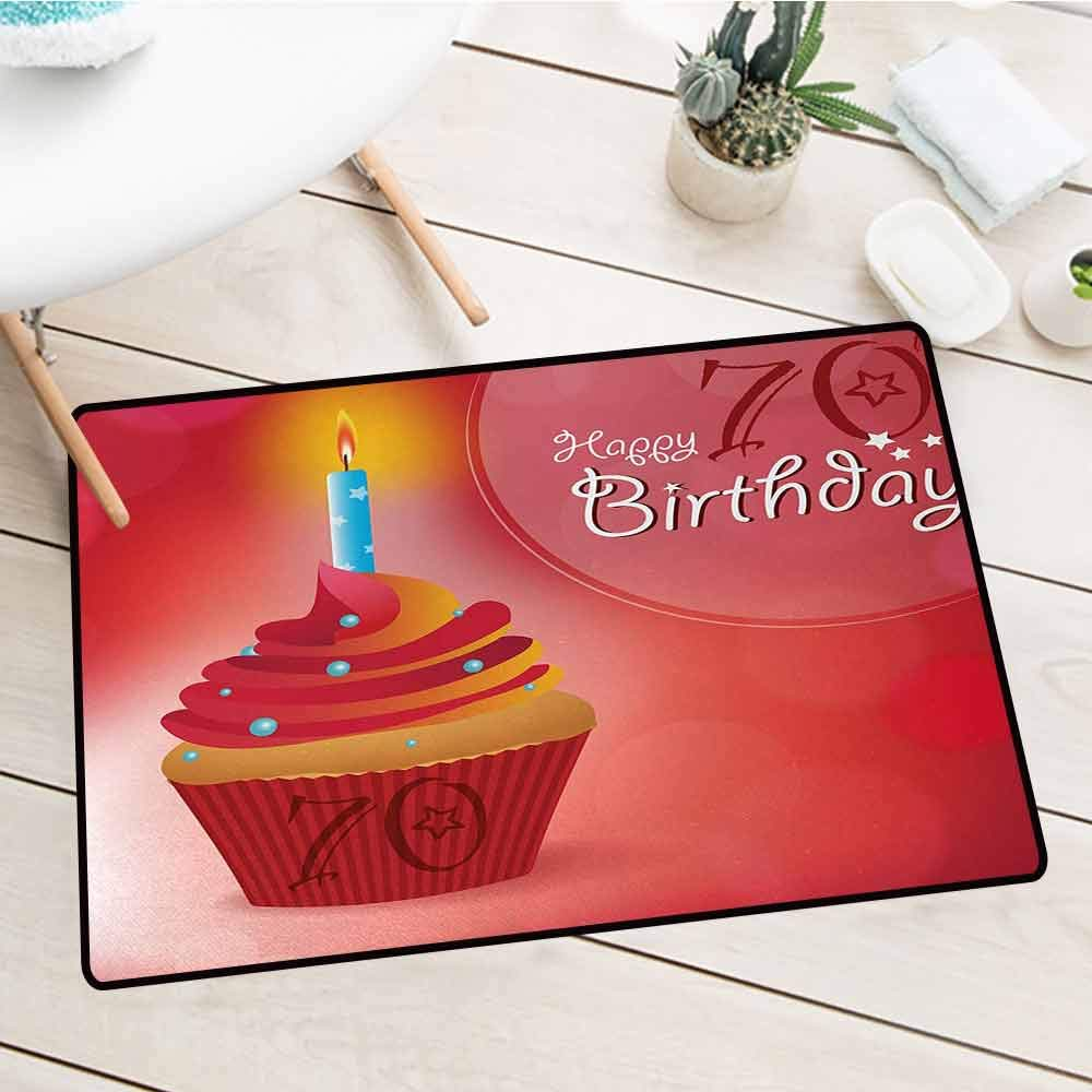 Wang Hai Chuan 70th Birthday Front Door mat Carpet Abstract Sun Beams Inspired Backdrop with Surprise Party Cupcake Image Machine Washable Door mat W31.5 x L47.2 Inch Red and Orange by Wang Hai Chuan