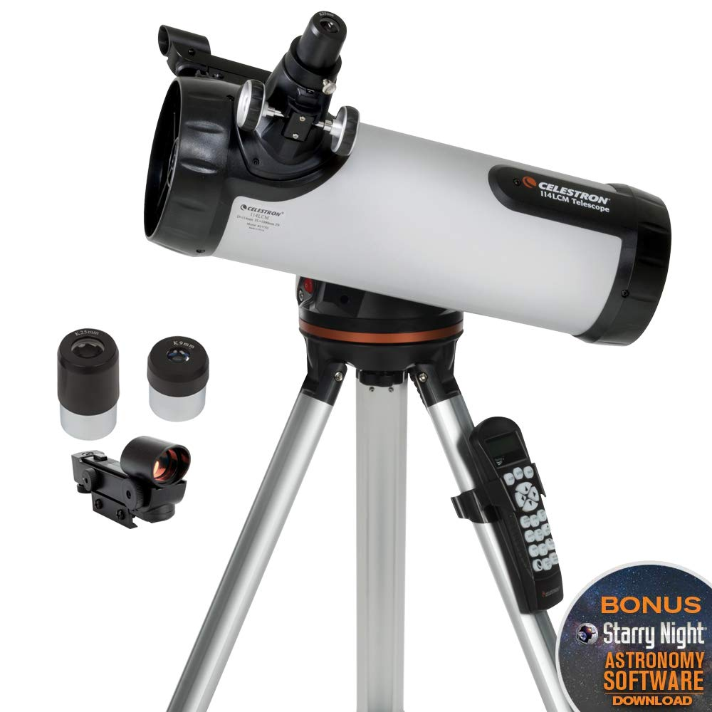 Celestron - 114LCM Computerized Newtonian Telescope - Telescopes for Beginners - 2 Eyepieces - Full-Height Tripod - Motorized Altazimuth Mount - Large 114mm Newtonian Reflector by Celestron