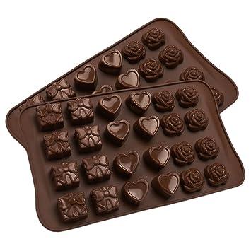 Corazón de rosas de silicona chocolate molde para San Valentín aniversario boda regalo, Candy moldes, 2 piezas: Amazon.es: Hogar